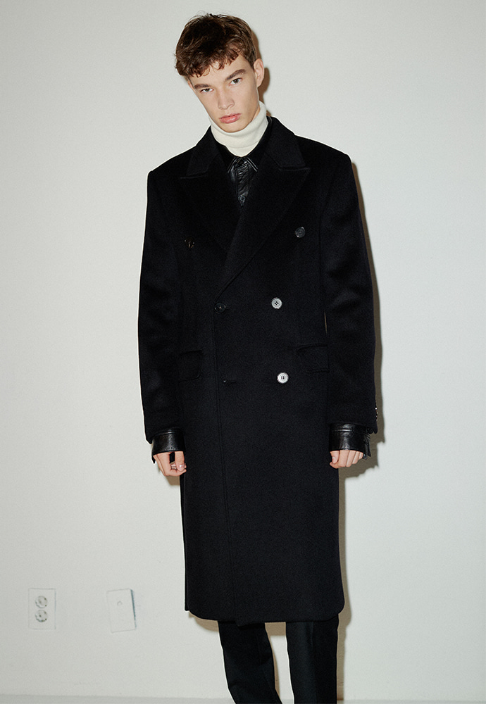 Crudo Cashmere Double Coat_ Black
