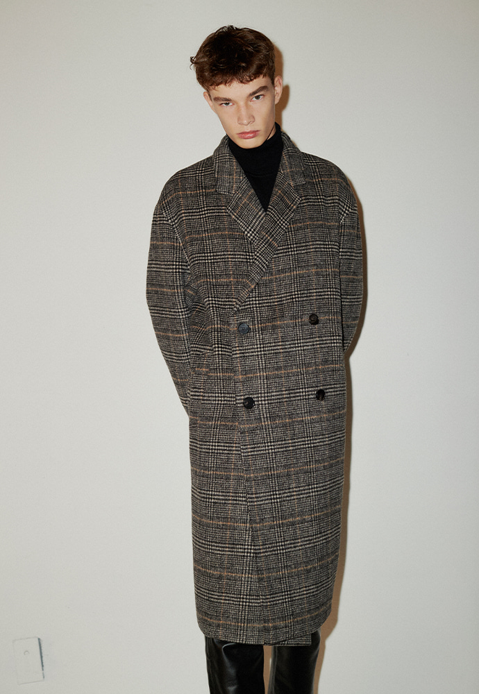Signature Hand-made Double Coat_ Brown Glen Check
