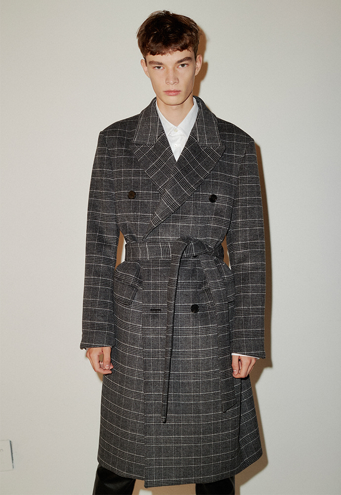 Crudo Cashmere Double Coat_ D.Grey Check