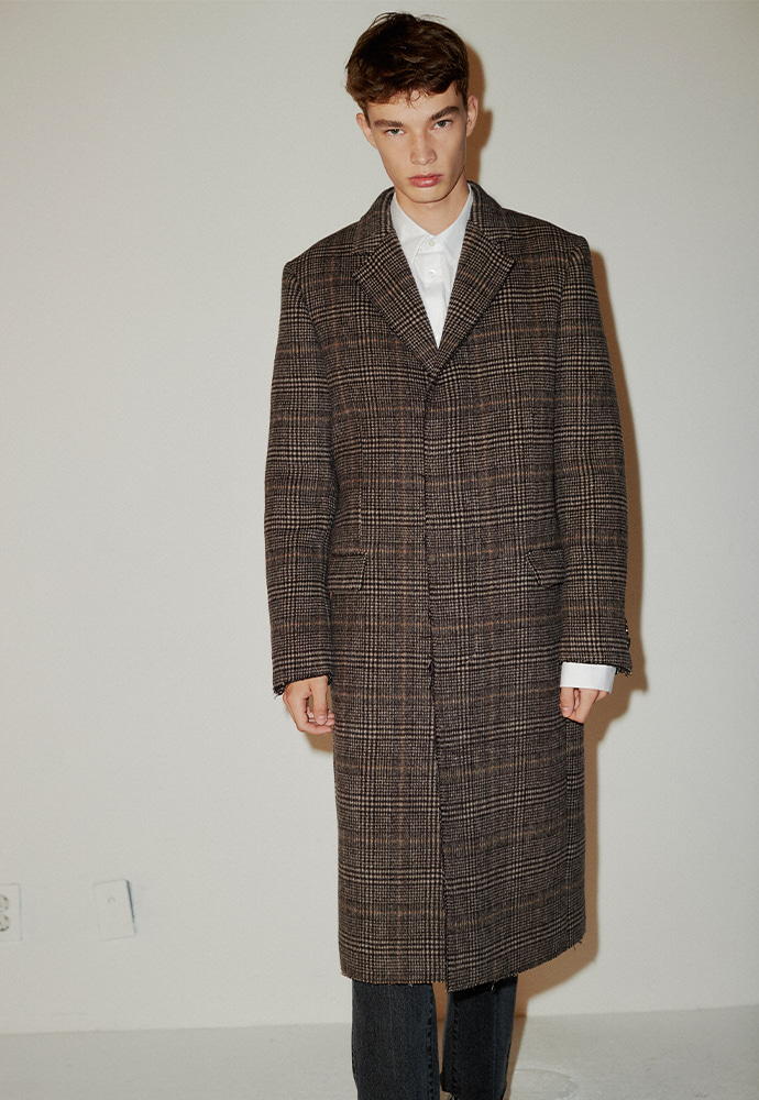 Crudo Check Cutting Coat_ Brown Glen Check
