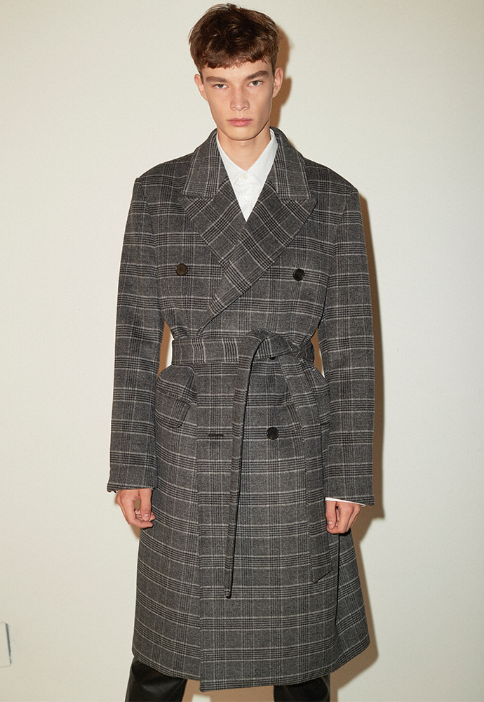 Crudo Check Double Coat_ D.Grey Check