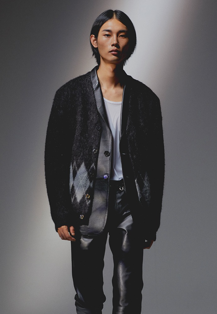 Stiff Mohair Cardigan_ Black&Grey