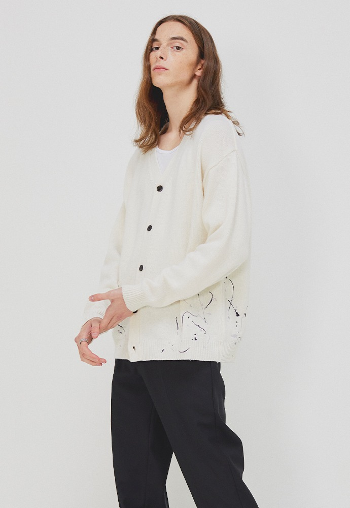 Paint-splatter embroidery Cardigan_ Ecru