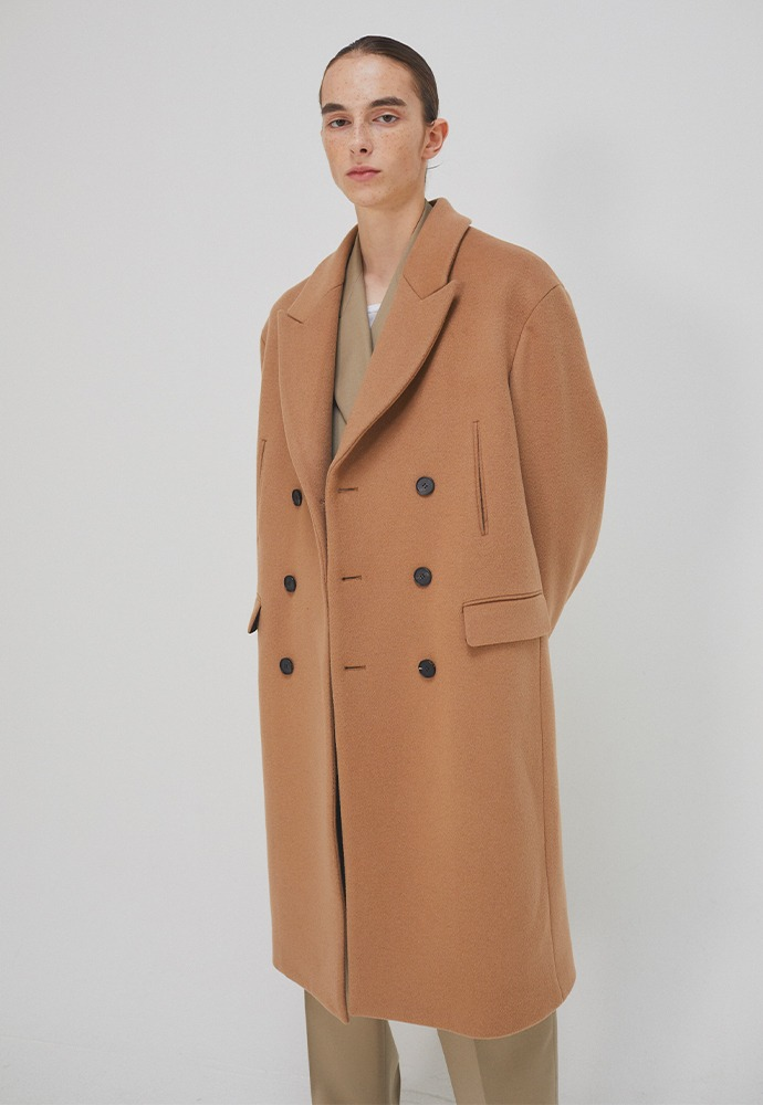 Curve Semi-Oversized Double-Pocket Coat_ Camel