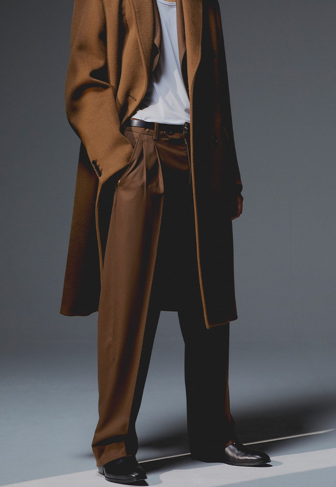 Row 2-Pleats Wide Leg Trousers_ Lux Brown (Wool 100%)