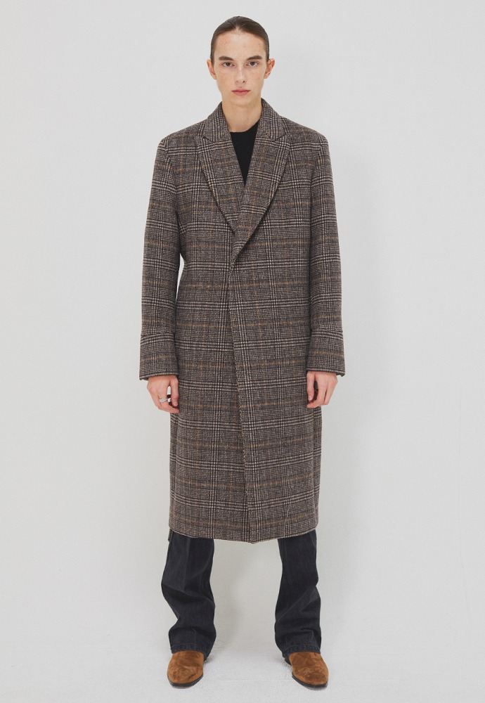 Crudo Check Robe Coat_ Brown Glen Check