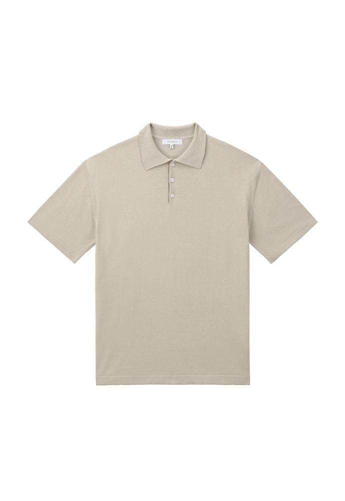 Saint Silk Polo Knit_ Sand