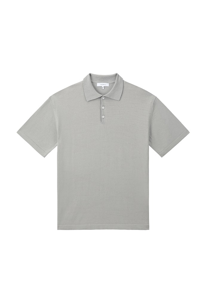 Saint Silk Polo Knit_ Arctic Grey