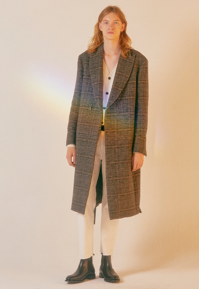 Crudo Cashmere Robe Coat_ Brown Glen Check