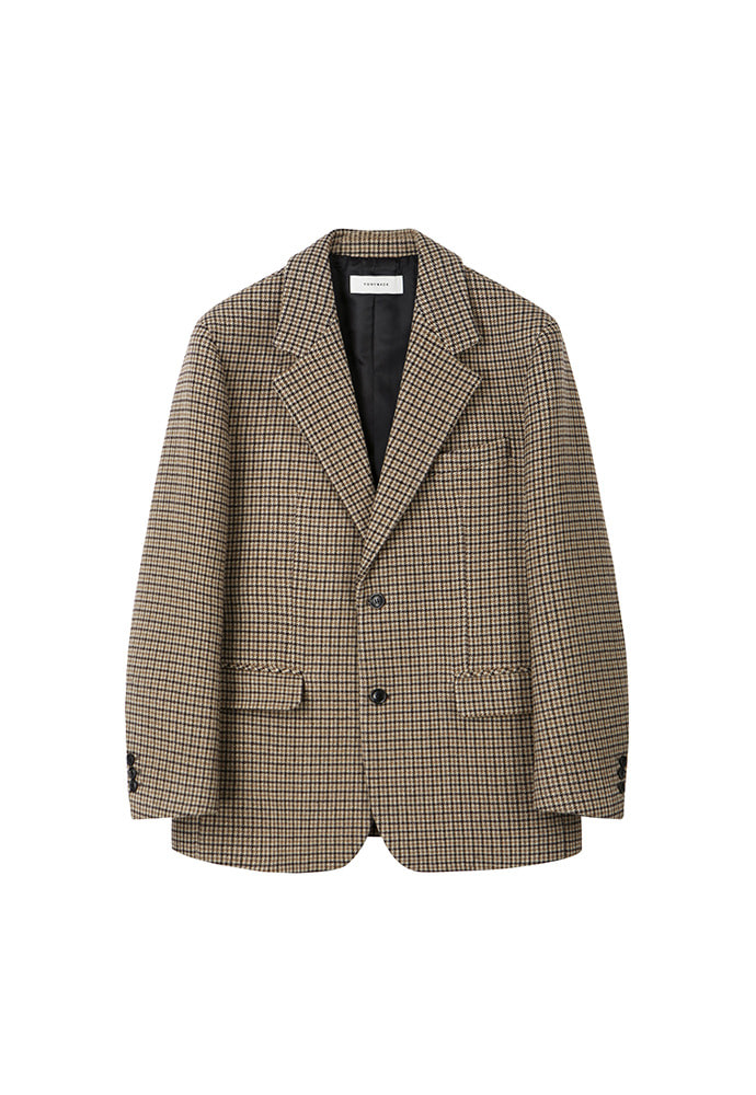 Archive Check Single Blazer_ Beige Houndtooth