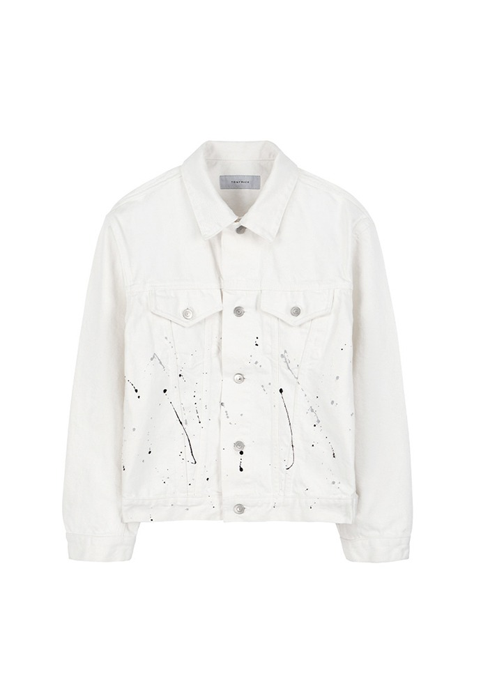 Musk Painting Denim Jacket_ White