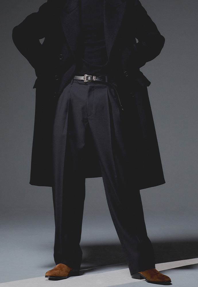 Row 2-Pleats Wide Leg Trousers_ Black