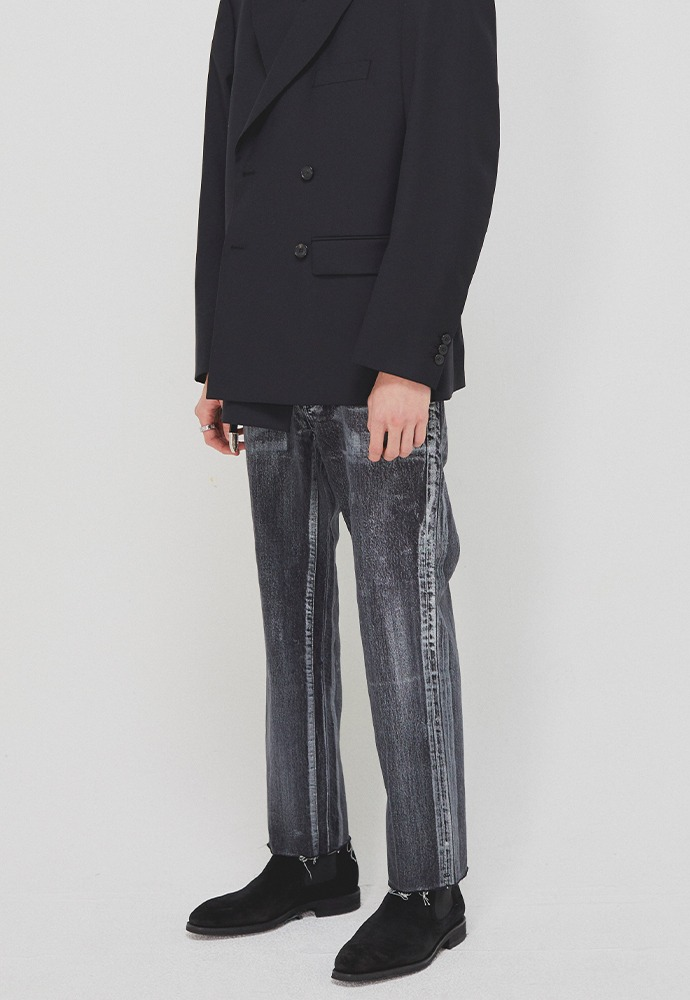 Martin Hand-painted Slim-Straight Jeans_ Black Washing