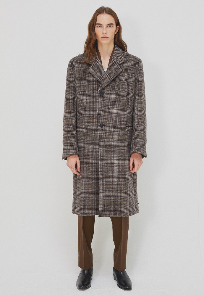 Sortie Wrap Coat_ Brown Glen Check