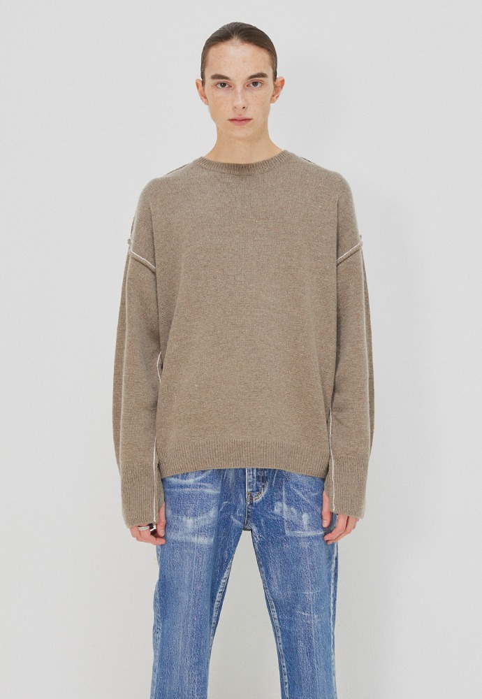 Contrasting Cashmere Sweater_ Pale Brown