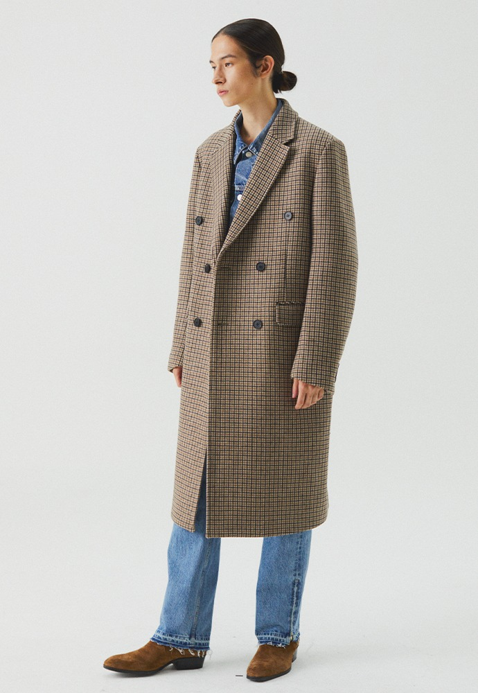 Essential Check Double Coat_ Beige Houndstooth
