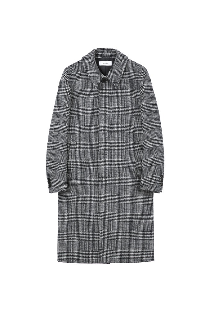 Signature Check Mac Coat_ Black & White Glen Check