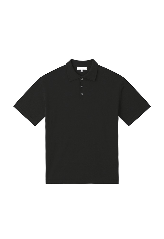 Saint Silk Polo Knit_ Black